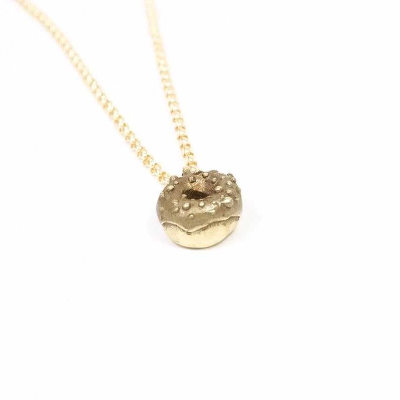 Donut Charm Necklace  Gold Filled Chain Choker Handmade Hand image 0