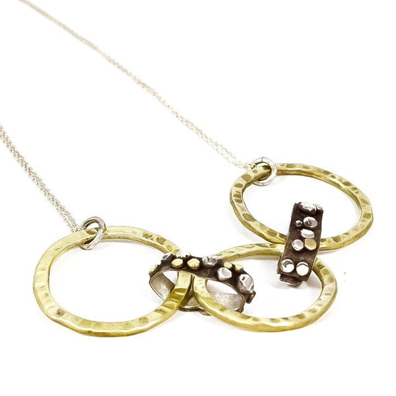 Hammered Brass Circles with Sterling Silver Rings Necklace image 0