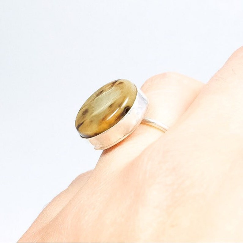 Simple Sterling Silver Ring with Round Bezel Set Agate Stone image 0