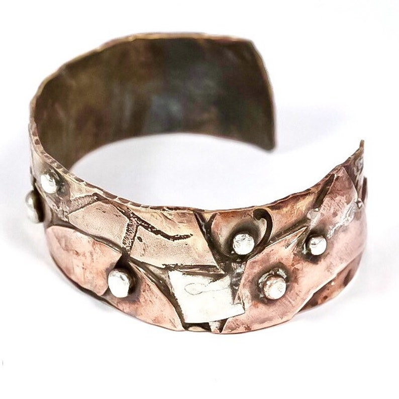 Unisex Mixed Metals Bronze Brass Copper & Sterling Silver Dots image 0