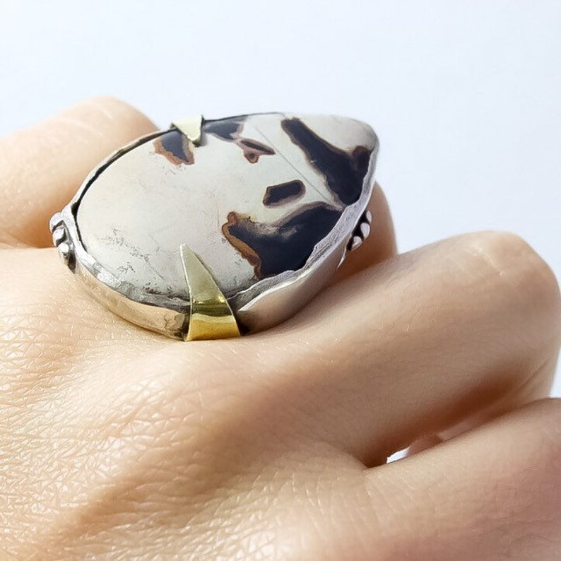 Map Jasper Sterling Silver Cocktail Statement Ring with Brass image 0