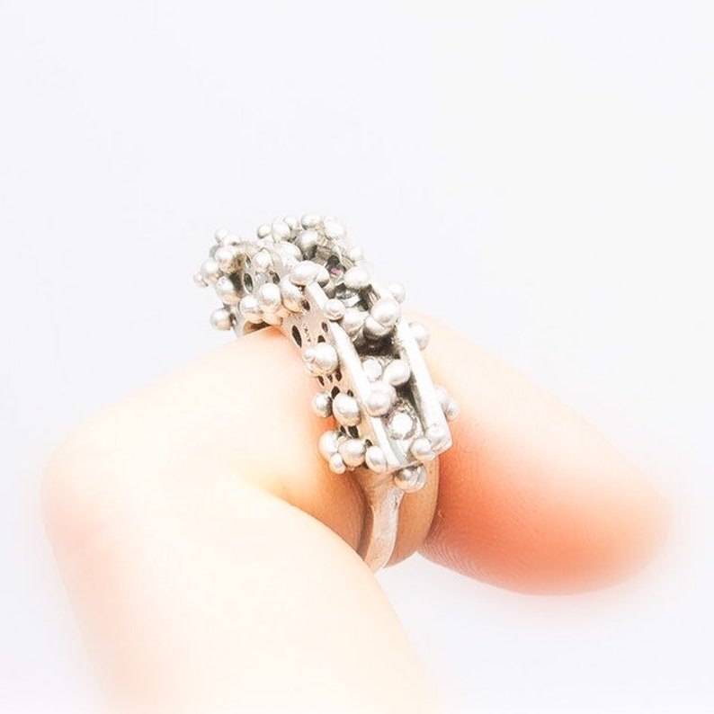 Circular Silver Granules Ring with Grey Cubic Zirconia Size image 0