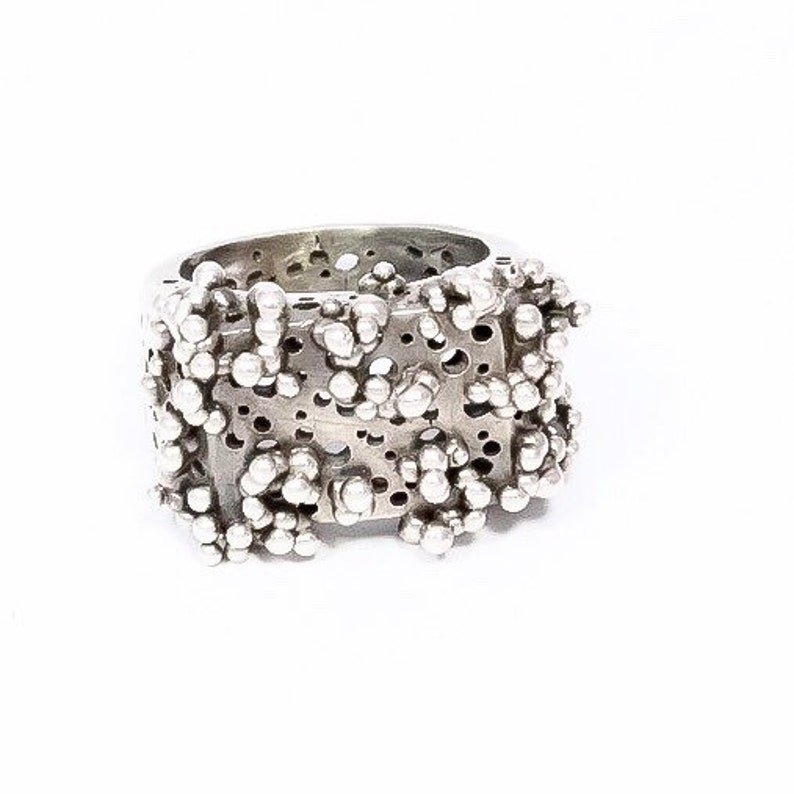 Unisex Sterling Silver Granulation Ring Texture Statement Ring image 0