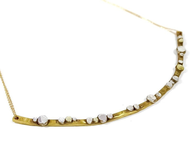 Hammered Brass Bar with Silver and Brass Dots Necklace with image 0