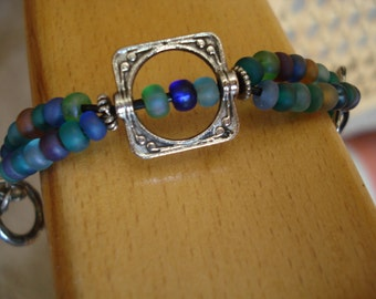 Blue Beaded  Double Strand Bracelet with Pewter Squares