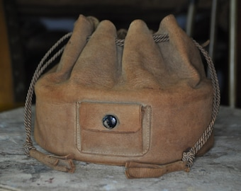 1920's Art Deco Collars & Cuffs Suede Bag
