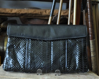 1980's Black Snakeskin Leather Clutch