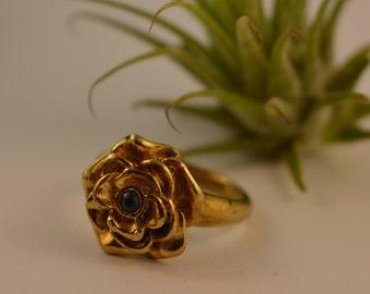 Mid-Century Vintage Blue Spinel & Gold Filled Flower Ring Size 6