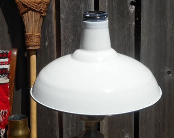 1950s Mid-Century New Old Stock Benjamin White Enamel Lamp Shade