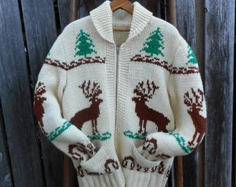 Vintage Handmade Canadian Wool Elk Sweater Size Small
