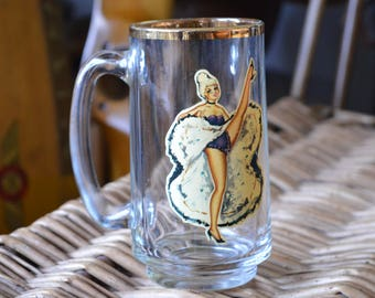 1950's Gold Rimmed Naughty Peekaboo Pin-up Girl Mug. 18+