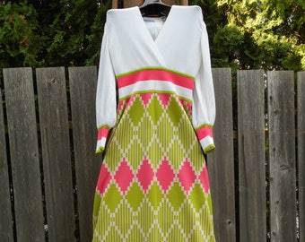 1960s Aled Couture Israeli Made Full Length Mod Dress Great Condition Size Small/Medium