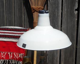 1950s New Old Stock Benjamin White Enamel Lamp Shade