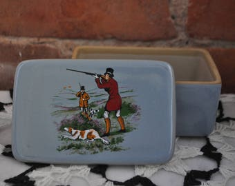 Antique Bourne Denby Men's Stoneware Dresser Box with Hunting Scene