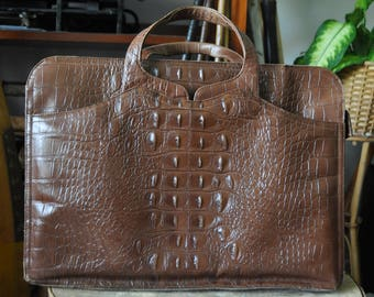 1960s John Hort Stamped Leather Faux Alligator Attaché