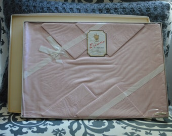Vintage Erinmore Pink Irish Linen 13x13 -4/12 New Old Stock- Still in Package