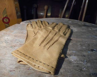 Vintage New Old Stock Ladies Deerskin Leather Gloves Size 7