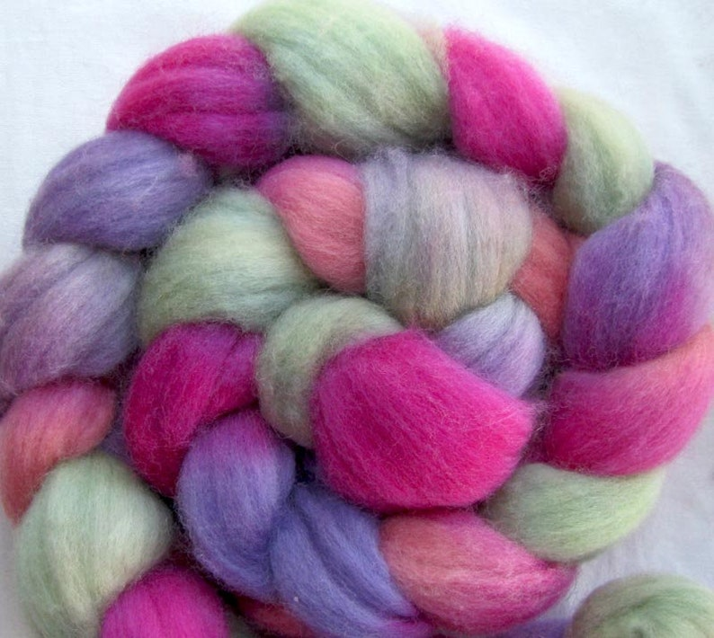 Polwarth Wool Fiber  Hand Painted Combed Top image 0