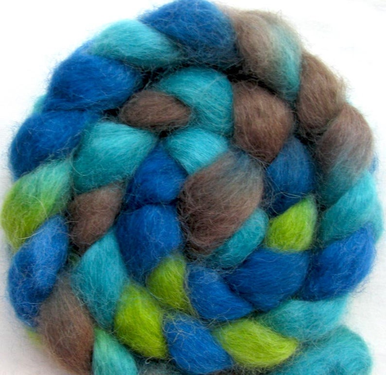 Masham Wool Fiber Combed Top 4 ounces Hand Painted image 0