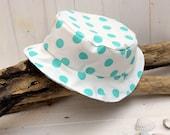 Turquoise cotton sun hat, baby sun hat