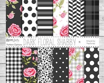 Printed vinyl Dark Floral Shabby, adhesive vinyl, heat transfer vinyl, pattern heat transfer, printed HTV or ADHESIVE  shabby chic