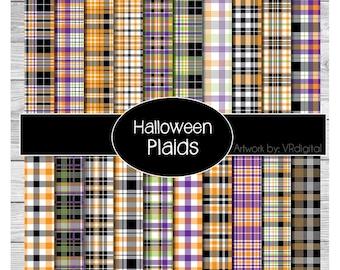 Halloween Plaids printed vinyl, adhesive vinyl, heat transfer vinyl, pattern heat transfer, printed HTV or ADHESIVE lily