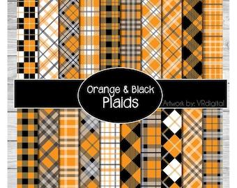 Orange Black Plaids printed vinyl, adhesive vinyl, heat transfer vinyl, pattern heat transfer, printed HTV or ADHESIVE lily