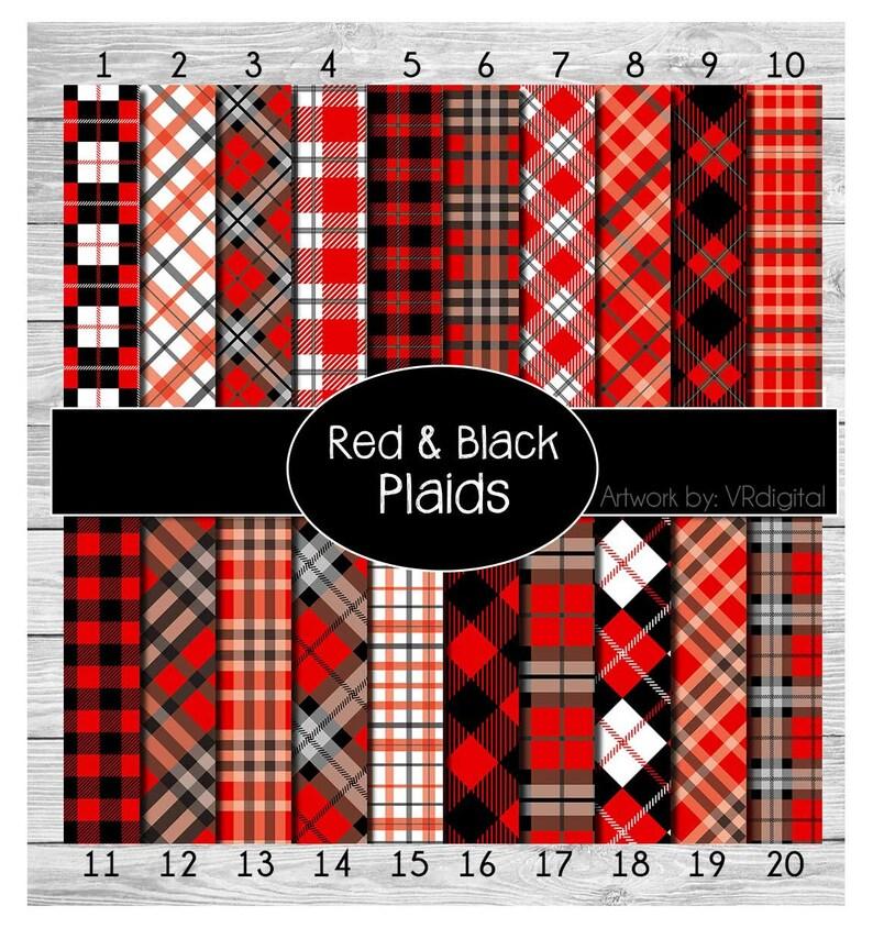Red Black Plaids printed vinyl adhesive vinyl heat transfer image 1