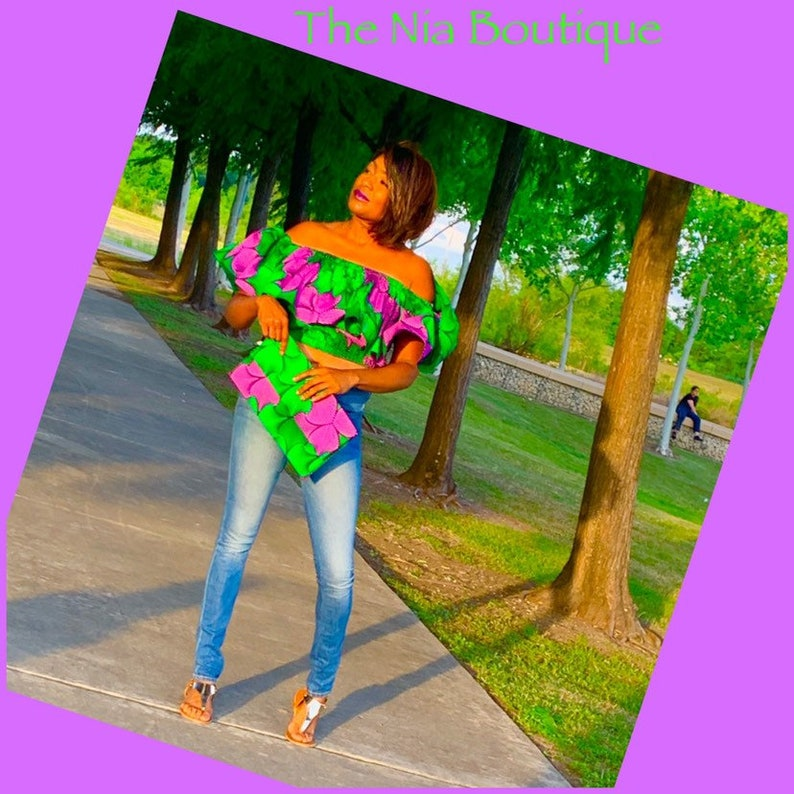 Green and Purple Off the shoulder crop