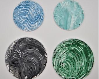 Hand Painted Pine Needle Basket Bottoms, Fluid Art Pine Needle Basket Bases