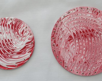 Red and White Fluid Art Pine Needle Basket Bottom, Hand Painted Pine Needle Basket Bottom
