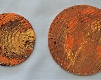 Hand Painted Pine Needle Basket Base, Brown Orange and Gold Fluid Art Pine Needle Basket Base