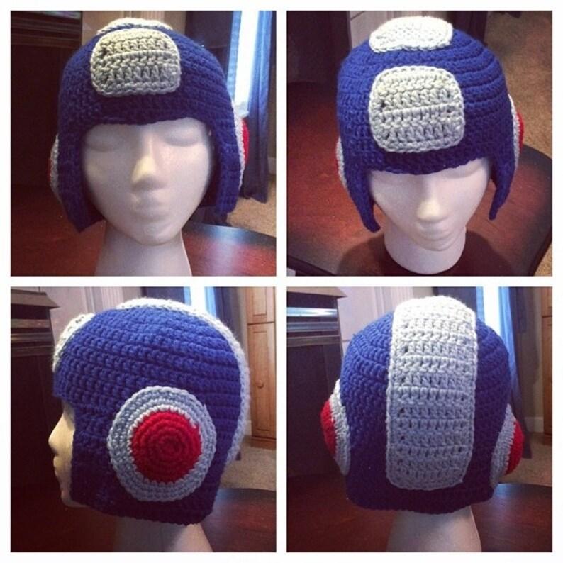 68eeb09b0d7 Megaman Crocheted Hat Gamer Helmet Beanie Megaman Helmet