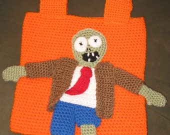 Zombie Crochet Bag Halloween Tote Walking Dead Inspired