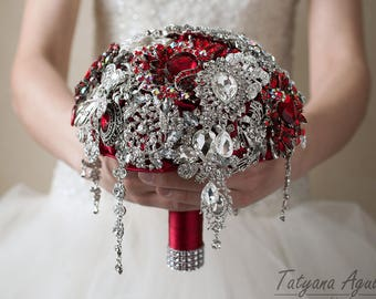 Red Brooch Bouquet, Wedding Bouquet, Bridal Bouquet, Bridesmaids Bouquet Red Silver Bouquet, Crystal Bouquet, Broach Bouquet, Red Bouquet