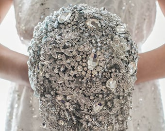 Brooch bouquet, Silver Wedding Bouquet, Bridal Bouquet, Cascading  Bouquet Tear Drop bouquet Silver Bouquet Jewelry Bouquet, Crystal Bouquet