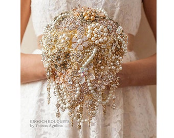 Gold Pearl Cascading BROOCH BOUQUET Ivory Bridal wedding bouquet broach bridesmaid Beard teardrop Brides Quinceanera keepsake Brooch bouquet