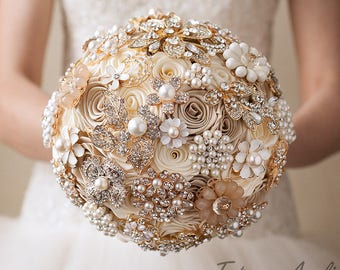 Ivory Cream Brooch Bouquet Champagne Beige Bridal Wedding Bouquet Broach Fabric Gold Chic Rhinestone Pearls Bridesmaid Brides Brooch Bouquet