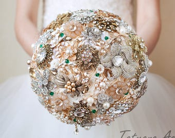 Silver Gold Wedding Brooch Bouquet Brides Cream Bridesmaids Geen Emerald Bridal Bouquet Gifts Ivory Charm Rhinestones Pearl Brooch Bouquet