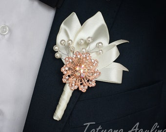 18de6c7a04f00 Ivory Gold Wedding Boutonniere Grooms Pin Groomsman Boutonniere Rose Gold  Groomsmen Boutonniere Boutonhole Pearls Boutonniere Crystal Pin
