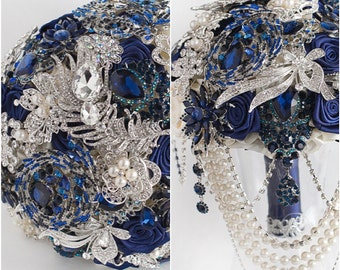 Brooch Bouquet Navy Blue And Silver Wedding Brooch Bouquet Etsy