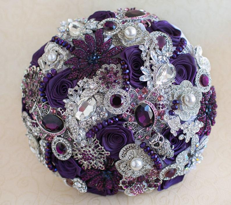 bridal bouquet Purple brooch bouquet Silver wedding brooch bouquet Jeweled Bouquet custom wedding bouquet.