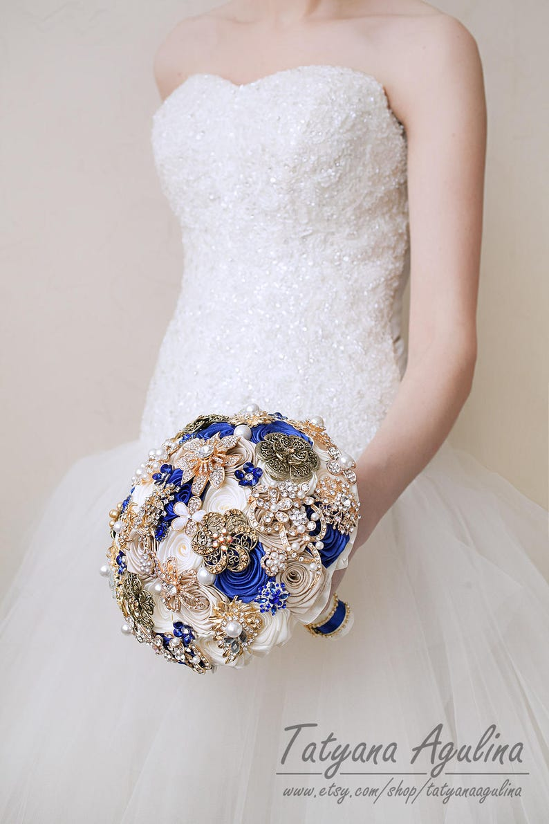 Royal Blue Brooch Bouquet Gold Ivory Brides Wedding Bouquet Bridesmaids Gifts Pearls Brooch Bouquet Broach Crystal Vintage Bridal Bouquet