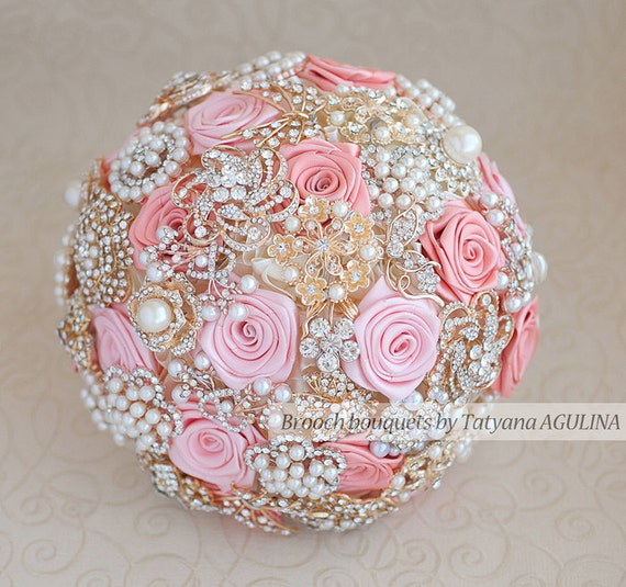 Coral Brooch Bouquet Wedding Bouquet Bridal Bouquet Jewelry Etsy