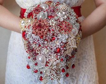 Cascading Brooch bouquet. Red and Gold vintage wedding broach bouquet, Jeweled Bouquet keepsake broche bouquet