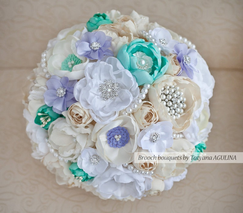 Ivory Jeweled Bouquet Brooch bouquet Made upon request Mint and Lavender wedding brooch bouquet