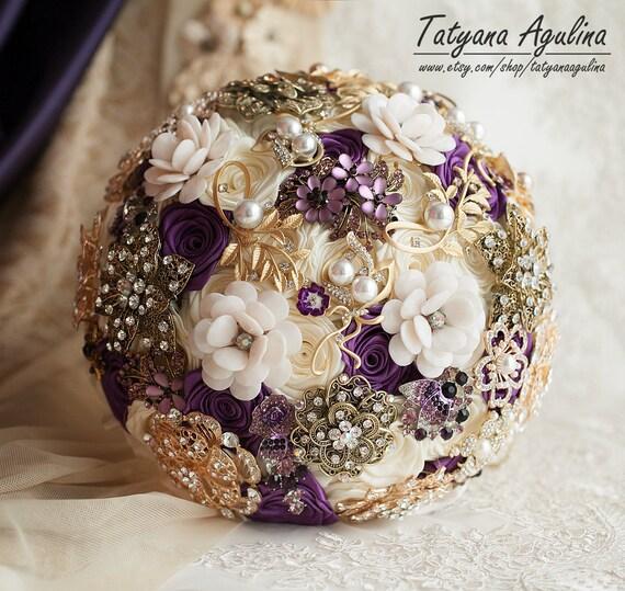 Gold Hochzeit Bouquet Brosche Blumenstrauss Brautstrauss Lila Etsy
