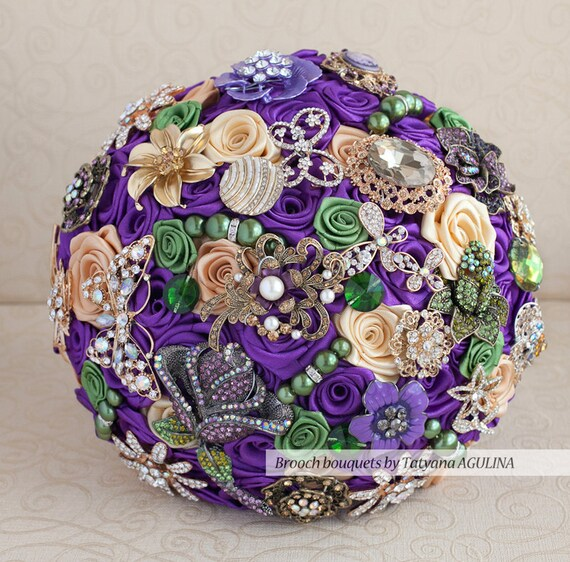 brooch bouquet purple green and gold wedding brooch bouquet etsy