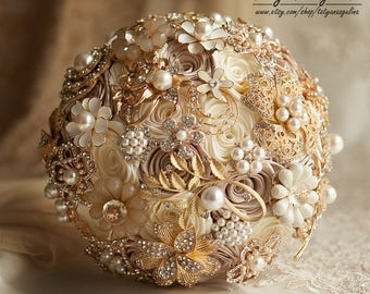 Bridal Bouquet, Ivory Wedding Bouquet, Brooch Bouquet, Champagne Bouquet Ivory Bouquet Broach Bouquet Gold Bouquet Gold Wedding Chic Bouquet