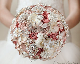 Pink Brooch Bouquet Wedding Bouquet, Bridal Bouquet, Blush Bouquet, Ivory Bouquet, Gold Bouquet, Bridesmaids Bouquet, Pink Bouquet